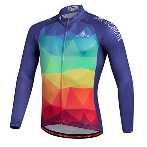 Uriah Men's Cycling Jersey Long Sleeve Reflective Triangle Blocks Size XL(CN) (Sleeve Retro Long Jersey)