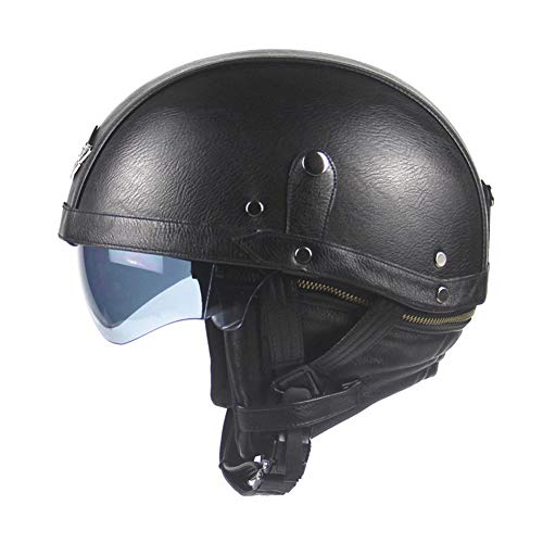 Casco Moto Harley Casco con Gafas De Tres Colores,Darkbrown