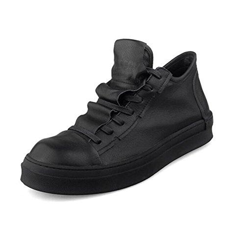 YIXINY Chaussures de Sport S-758 Plaque Chaussures Homme PU + Plaque en Tissu Chaussures Plat Avec Casual Chaussures à lacets Blanc, Noir Route et Chemin ( Couleur : Noir , taille : EU42/UK8.5/CN43 ) Noir
