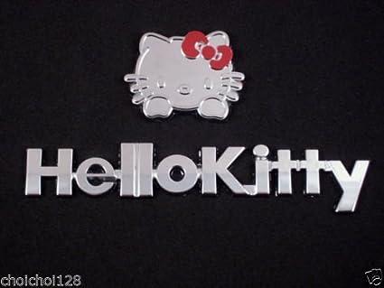 New 2pc Sanrio Hello Kitty Bow 3-D Chrome Plastic Auto Car Truck Emblem Stickers