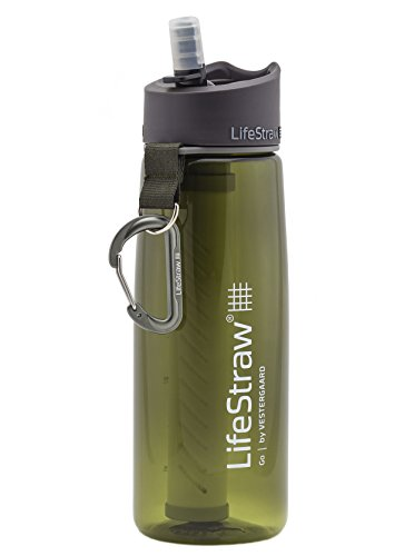LifeStraw Go Water Filter Bottle with 2-Stage Integrated Filter Straw for Hiking, Backpacking, and Travel, Green