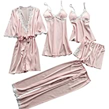 Women Large Size Pajamas Nightdress Sexy Nightwear Babydoll Sleepwear Robe 5 Piece Set