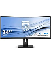 Philips B Line 345B1C LED Monitor, Curved, 34 inch, 3440 x 1440 WQHD, 3000: 1-5 ms, Zwart