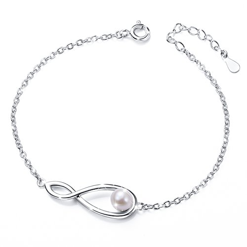 925 Sterling Silver Freshwater Cultured Pearl Adjustable Infinity Bracelet for Women Mother's Day Gift Mother Of Pearl White Bracelet