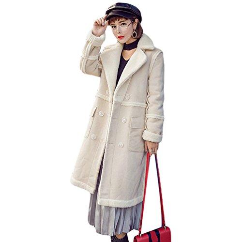 WanYang Las Señoras del Abrigo Mangas Largas Outwear Señoras del Color Sólido de la Rebeca Beige