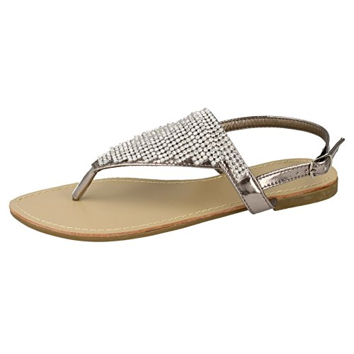 Savannah Womens/Ladies Flat Toe Post Diamante Trim Sandals Rose Gold 4YWN3jJg