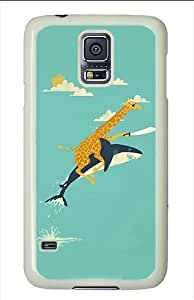 Samsung Galaxy S5 Cases and Covers - Funny Giraffe And Shark Illustration Polycarbonate Case for Samsung Galaxy S5 White