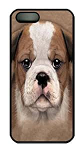 iPhone 5 5S Case -Bulldog Puppy Black Custom iPhone 5 5S Case Cover