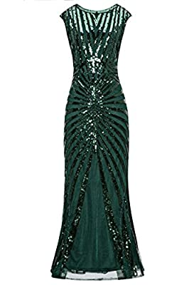 Metme Women's 1920s Vintage Fringed Sequin Long Flapper Gatsby Dress for Party