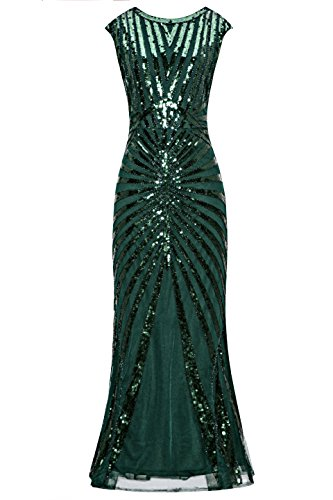 Evening Wear Accessories - Metme Formal Evening Dress 1920s Sequin Mermaid Formal Long Flapper Gown Party Green