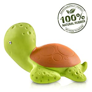 Pure Natural Rubber Baby Bath Toy – Mele the Sea Turtle – Without Holes, BPA, PVC, Phthalates Free, All Natural…