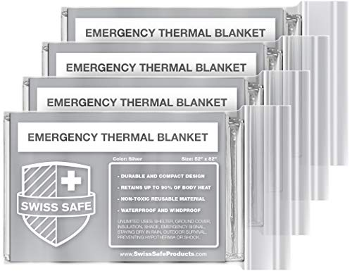 Swiss Safe Emergency Mylar Thermal Blankets (4-Pack) + Bonus Signature Gold Foil Space Blanket: Designed for NASA, Outdoors, Hiking, Survival, Marathons or First -