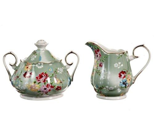 Gracie China Shabby Rose Porcelain 2-Piece Sugar and Creamer Set, Shabby Rose Green (Sugar And Creamer Set)