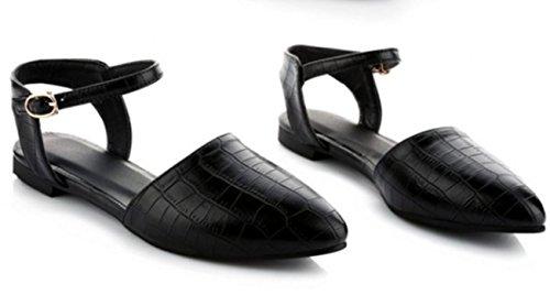 YCMDM sandali di estate nuova marea scarpe britannico in rilievo Fibbia aguzzi piani SCARPE DONNA , black , 36