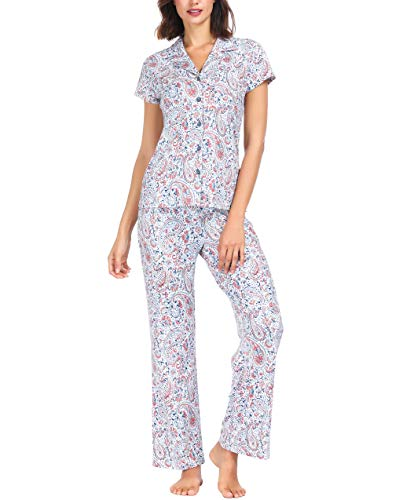 Ink+Ivy Women Pajama Set Short Sleeve and Lounge Pants Collar Button Paisley Floral - Womens Ink