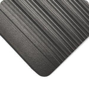 3' x 2' x 3/8''Thk Black PVC Sponge Tuf Sponge 451 Beveled Round Ribbed Anti-Fatigue Mat