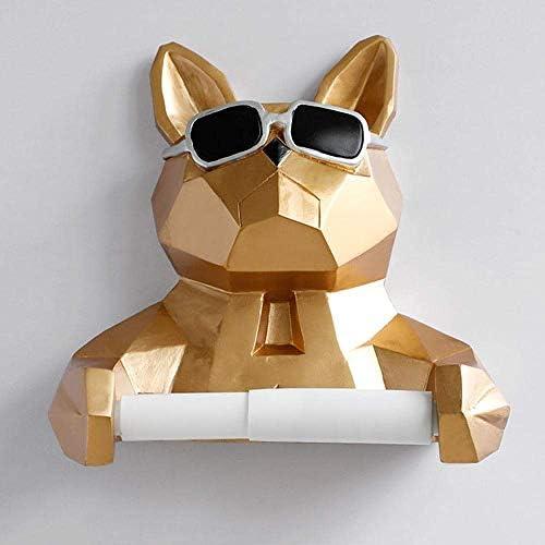 BZM-ZM ティッシュボックスティッシュボックスストレージボックスティッシュホルダークリエイティブ動物の頭部像置物ハンギングティッシュホルダートイレ洗面所の壁の家の装飾のロール紙ティッシュボックスホルダー-Gold_Dog