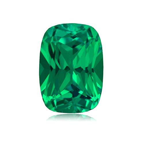 Mysticdrop 2.59-3.16 Cts of 10x8 mm AAA Cushion Cut Lab Created Emerald (1 pc) Loose Gemstone