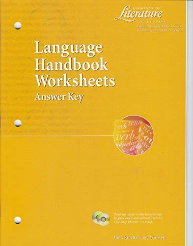 Elements of Literature Fifth Course (Grade 11) Language Handbook Worksheets Answer Key (Holt Elements Of Literature Fifth Course Answers)