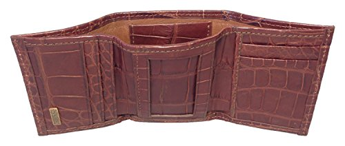 Sultan Men's Trifold Semi Safari Cognac Genuine gloss Wallet Alligator HHrpaT