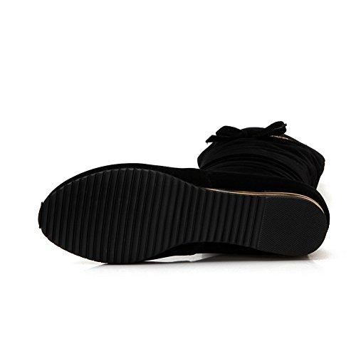 Black High Flatform Womens on Heighten Beaded Suede Pull Boots BalaMasa ABL09769 Knee Inside q70a6w65x