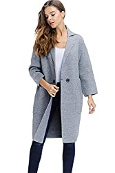 Alexander David Womens Sweater Trench Coat Jacket Button Knit Long Trench Overcoat Grey Medium Large