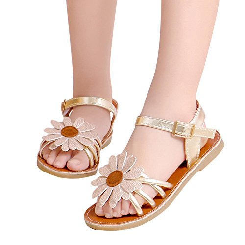 Price comparison product image Moonker Baby Sandals for 0-8 Years Old,Toddler Baby Girls Flower Roman Princess Shoes Rubber Sole Non-Slip Summer Prewalker Shoes (7.5-8 Years Old, Gold)