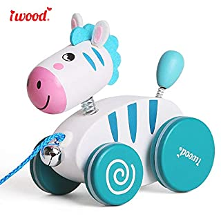iwood Wooden Pull Along Zebra Walking Along Toddler Toy for 1 Year Old