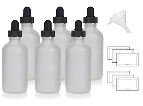 4 oz Frosted Clear Glass Boston Round Bottle with Glass Dropper (6 Pack) + Funnel and Labels