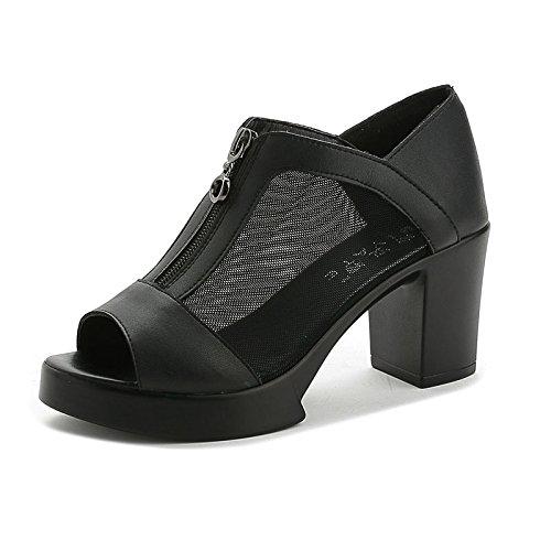 ZPPZZP Mme Sandals, fond plat wild Korean style black 35EU étudiants