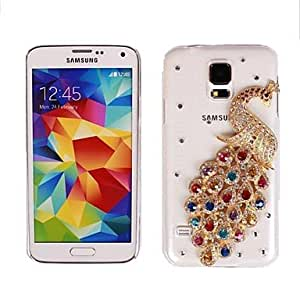 PEACH- ships in 48 hours Magnificent Crystal Peacock Hard Case for Samsung Galaxy S5 I9600 (Assorted Colors) , Multicolor