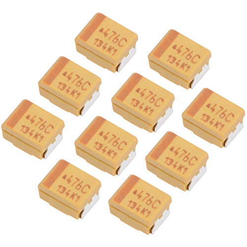 uxcell 47uF Tantalum Capacitor, Chip SMD Electrolytic Capacitor 16V 7343D 10% Tolerance 3.6X3X2mm 10pcs