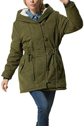 Women Winter Warm Hooded Drawstring Zip Up Parkas Lined Coat Jecket Plus Size