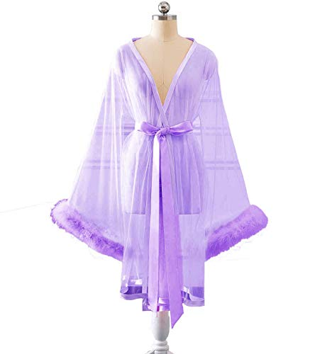 (Changuan Sexy Feather Bridal Robe Tulle Illusion Long Wedding Scarf New Custom Made Short-Lilac 3XL)