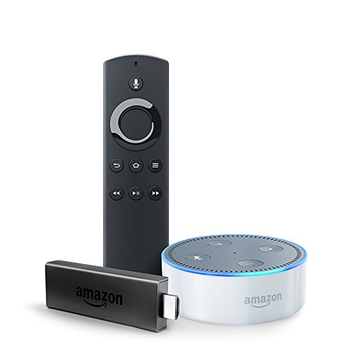 Fire TV Stick with Alexa Voice Remote + Echo Dot (White)