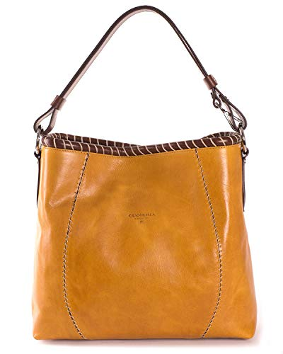 Cuoieria Fiorentina Italian Leather Hand-stitched Handbag (Yellow) (Handbag Hobo Belted)