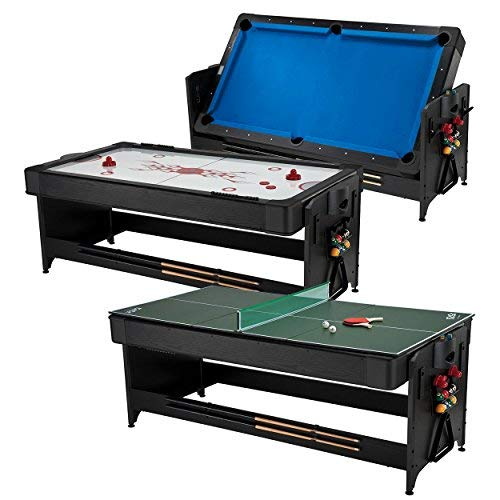 Fat Cat Original 3-in-1 7' Pockey Multi-Game Table, Play Pool, Air Hockey and Table Tennis, Play 3 Games All with The Same Table with an Easy Switch Latch System, Blue