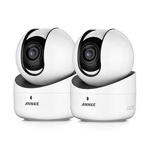 ANNKE (2) 720P Wireless Wi-Fi Camera with Two-ways Audio Talk, 1280x 720P PTZ Indoor CCTV Camera, WPS & P2P, Motion Detection (2-Packed )White