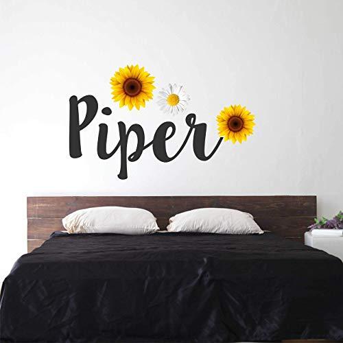 Sunflower Custom Name Wall Decal Flower - Girls Personalized Name Flower Wall Sticker - Custom Name Sign - Custom Name Stencil Monogram - Girls Nursery Wall Decor (Wall Sunflower Stickers)
