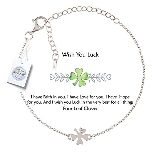 Vivid&Keith Four Leaf Clover Bracelet ♥Wish You Luck♥ 925 Sterling Silver Adjustable 18K Gold Plated with Swarovski Zirconia(White ()