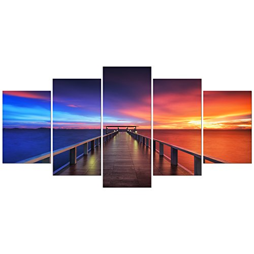 Pyradecor Sunset Bridge Giclee Canvas Prints Modern Seascape Artwork Landscape Pictures Paintings on Stretched and Framed Canvas Wall Art for Home Decor Extra Large AH5001-XL