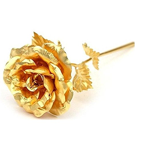 Beautiful Rose Flower 24k Golden Foil Lasts Forever With Gift Box And Bag Creative Unique Romantic Anniversary Birthday Or Valentine's Day Gift gcr2