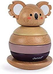 Janod World Wildlife Federation – Wooden Koala Stacker and Rocker Playset -- 6 Piece Set – Ages 12 Months+