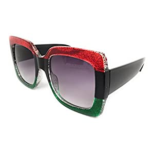 My Shades(TM) - Designer Inspired Oversize Glitter Sparkle Square Frame Sunglasses (Glitter Red, Black, Emerald / Grey Gradient)
