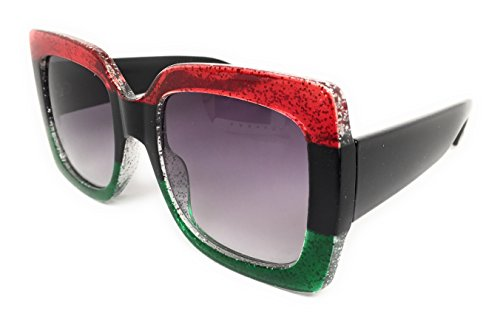 My Shades(TM) - Designer Inspired Oversize Glitter Sparkle Square Frame Sunglasses (Glitter Red, Black, Emerald / Grey Gradient) ()