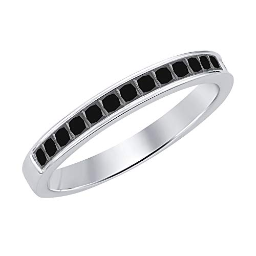 (SVC-JEWELS 1.10ctw Princess Cut Black Diamond Half Eternity Wedding Band Ring for Men's 18K White Gold Plated 925 Sterling Silver)