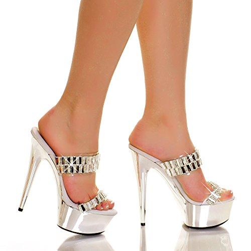 en's GLAMOROUS-31 Double Band Instep Straps Silver Metallic Platform Sandal 7 B(M) US (Fancy Heel)