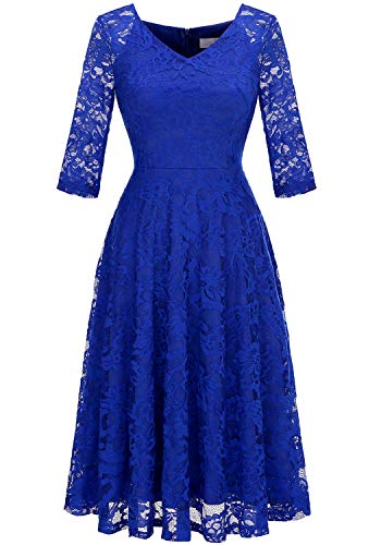 Dressystar Long-Sleeve A-Line Lace Bridesmaid Dress Midi for Wedding Formal Party M Royal Blue