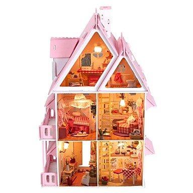XINHAOK gran villa sueño casa de muñecas de madera bricolaje incluyendo todos los muebles