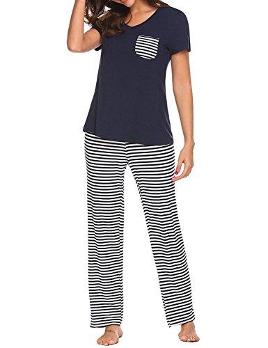 Summer Pajamas for Women Striped Ladies Pajama Set Oversized Shirt and Lounge Pants Navy Blue X-Large